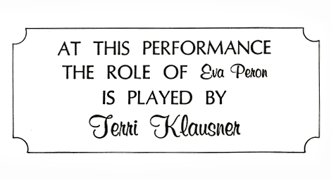 Insert announcement taken from the program announcing Klausner taking over the role for LuPone