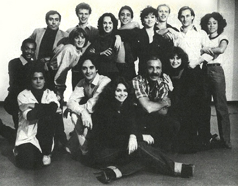 Klausner with the chorus, (center row, second from left). Taken from the original program for the American Premiere Of Evita at the Dorothy Chandler Pavilion
