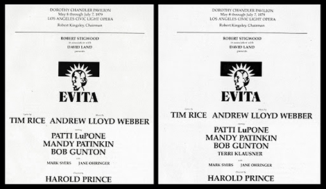 The original May program (left) did not bill Klausner as a cast member in the front page. This was changed in the June program (right), no doubt to reflect Klausner's growing necessity to the production.