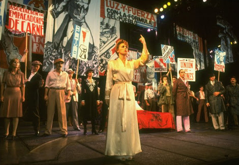 """Patti LuPone as Eva Peron singing ""A New Argentina"" in a scene from the Broadway production of the musical ""Evita."