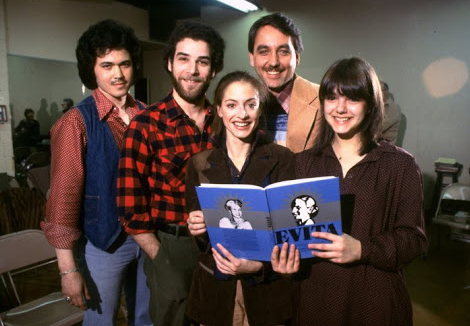 "The principal cast members during New York rehearsals: (L-R) Mark Syers, Mandy Patinkin, Patti LuPone, Bob Gunton and Jane Ohringer from the Broadway production of the musical ""Evita."""
