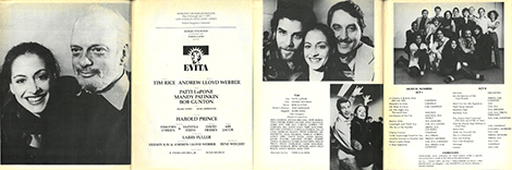 The program for the American Premiere Of Evita  at the Dorothy Chandler Pavilion dated May 1979.