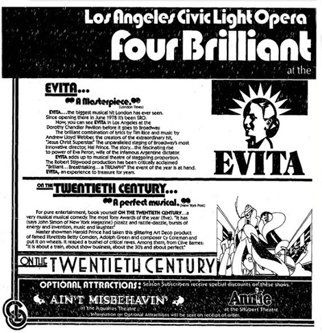 April 1979 Los Angeles Times advertisement for the Los Angeles Civic Light Opera.