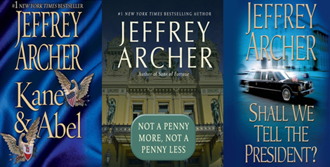 3 Jeffrey Archer book covers