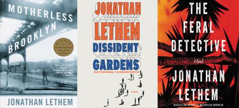 three book covers of Jonathan Lethem