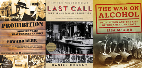 3 book covers about prohibition