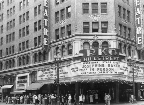 Crowds gather outside RKO Hillstreet Theatre located at 8th and Hill Streets in downtown Los Angeles,to see a 1945 appearance by Josephine Baker,