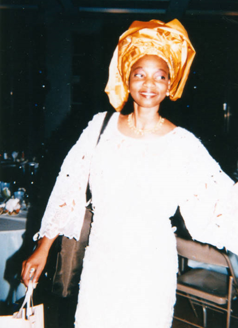 Tola Harris attends a wedding reception. The photo is dated November 9, 1996.