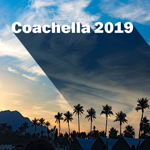 Coachella over sunset with palm trees