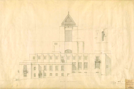 early drawing of the central library