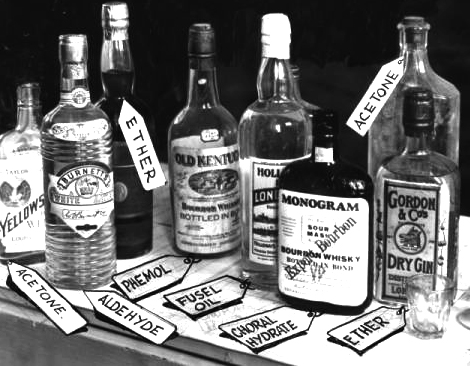 bottles of Christmas liquor served during prohibition