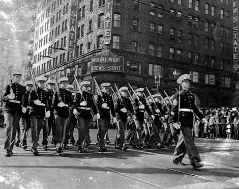 U.S. Marine Corps marching in uniform during a World War 1 Armistice parade in 1947