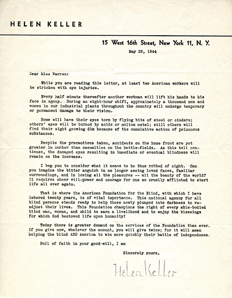 Correspondence from Helen Keller to City Librarian Althea Warren, 1944