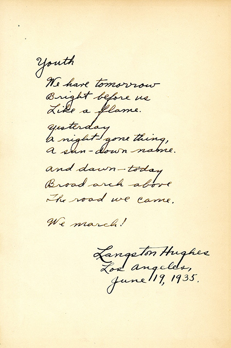 """Youth"" poem by Langston Hughes,1935"