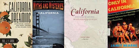 Four book covers about California