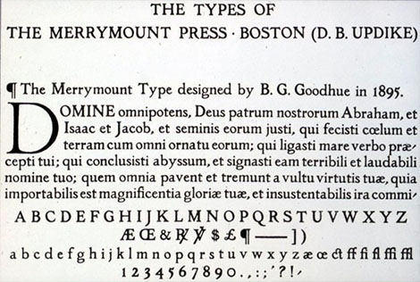 an example printed of the merrymount type press that Goodhue designed.