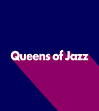 a square graphic of purples, plums and whites with the words Queens of Jazz spelled out