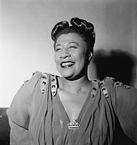 an old vintage photo of Ella Fitzgerald smiling