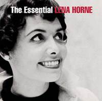 an album cover for the Essential Lena Horne. A black and white photograph of a young Lena Horne smiling and looking up