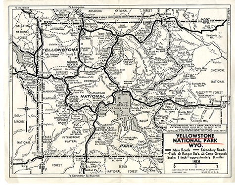 vintage map of Yellowstone National Park