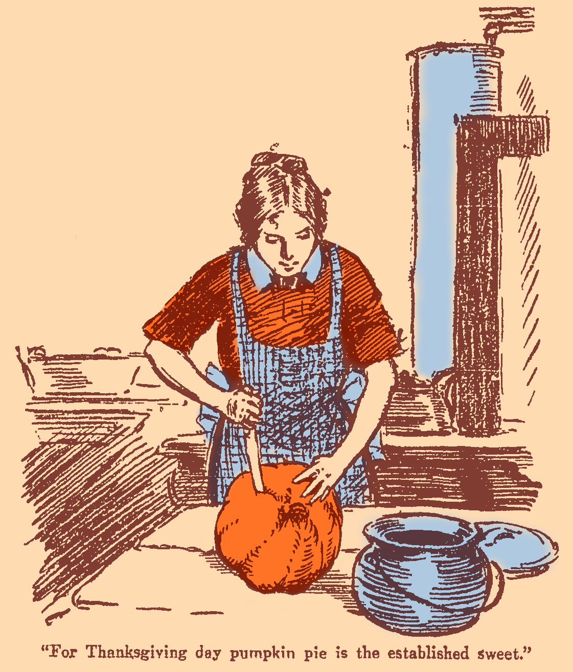 woman wearing an apron carving a pumpink