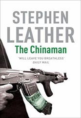 the book cover for the chinaman.  black and white photo of a person's arms, holding a semi-automatic gun.