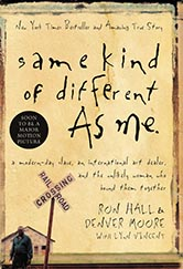 book cover of same kind of different as me. photograph of a man standing in front of a railroad crossing.