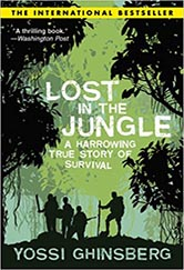 book cover for jungle. illustration of a black and green rainforest.