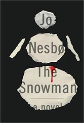 book cover for the snowman.  a cut out illustration of a snowman in paper cut form with the author's name, Jo Nesbo, and title included