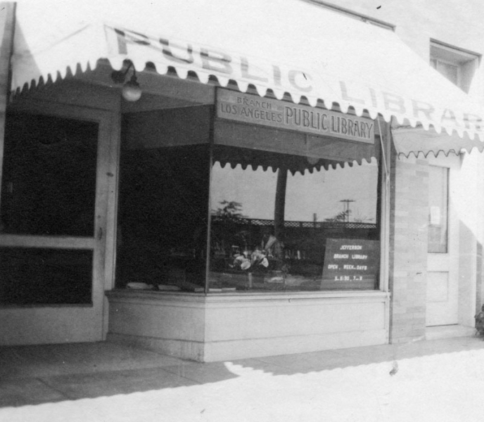 Exterior view of Jefferson Branch of the Los Angeles Public Library. Branch rented a store building at 2065 West Jefferson Boulevard, between 1915-1923. View is of the storefront of the library.