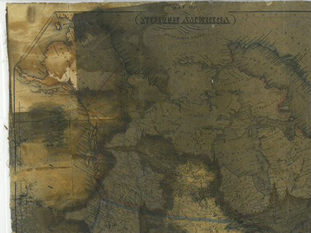 Burned map. Map of North America by Calvin Smith, 1852
