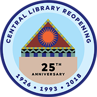 central library 25th anniversary logo