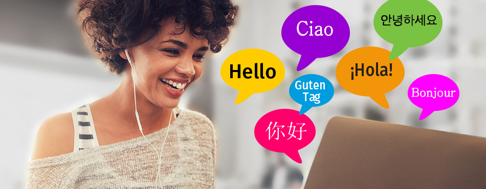 woman at computer with headphones with speech bubbles saying hello in different languages