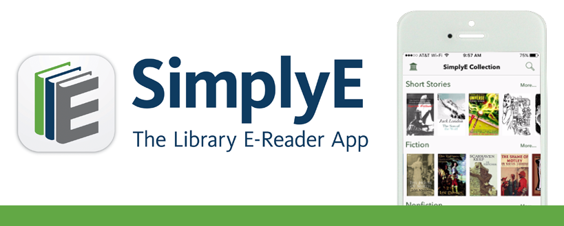simplyE logo and smartphone displaying the app in use
