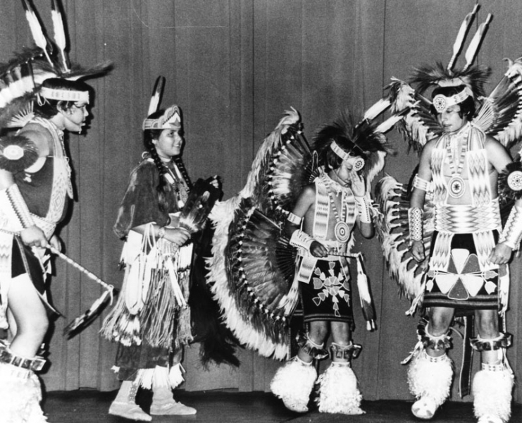 Dance performance for American Indian employees of Los Angeles County circa 1978.
