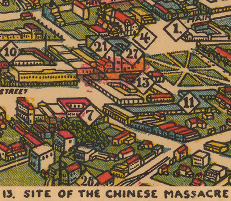 Detail of a map of Los Angeles, as it appeared in 1871, showing the site of the 1871 Chinese massacre