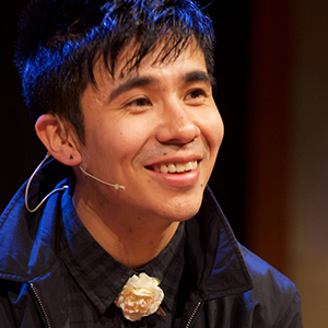 Ocean Vuong on stage at ALOUD