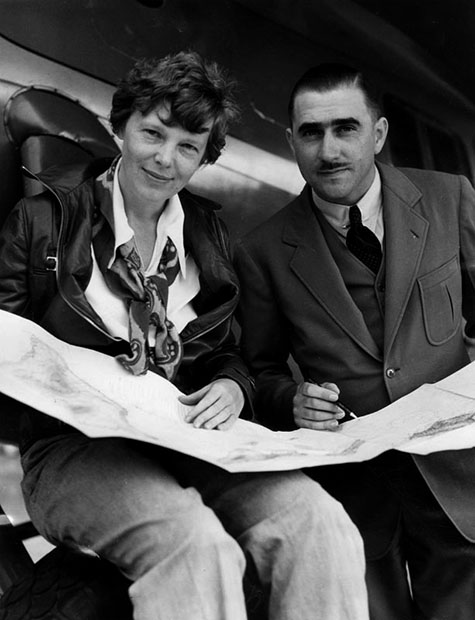 Amelia Earhart and her technical expert, Paul Mantz