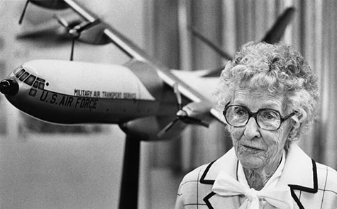 Neta Snook Southern, former pilot and Amelia Earhart's flight instructor, reminisces about her aerial feats during a visit to Santa Monica's Douglas Museum. Photograph dated January 10, 1981.