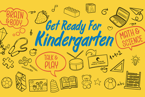 yellow get ready for kindergarten logo with toys