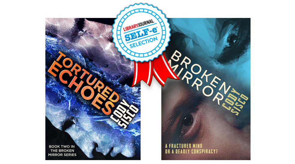 Book covers for Broken Mirror and Tortured Echoes and the SELF-e Selection seal