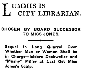 "Newspaper article ""Lummins is City Librarian"""