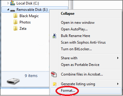 File Explorer window with Format circled