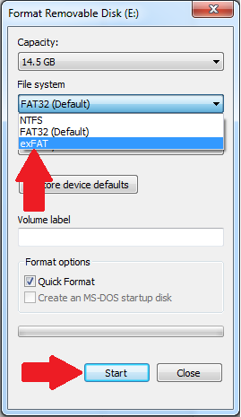 Formal Removable Disk with exFAT and start highlighted