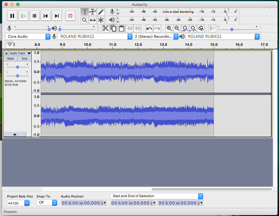 Audacity screenshot: activity