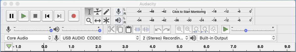 screenshot showing Audacity settings for vinyl