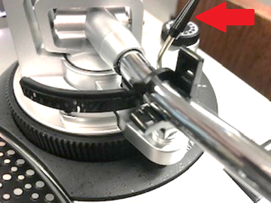 photo demonstrating where the tone arm is