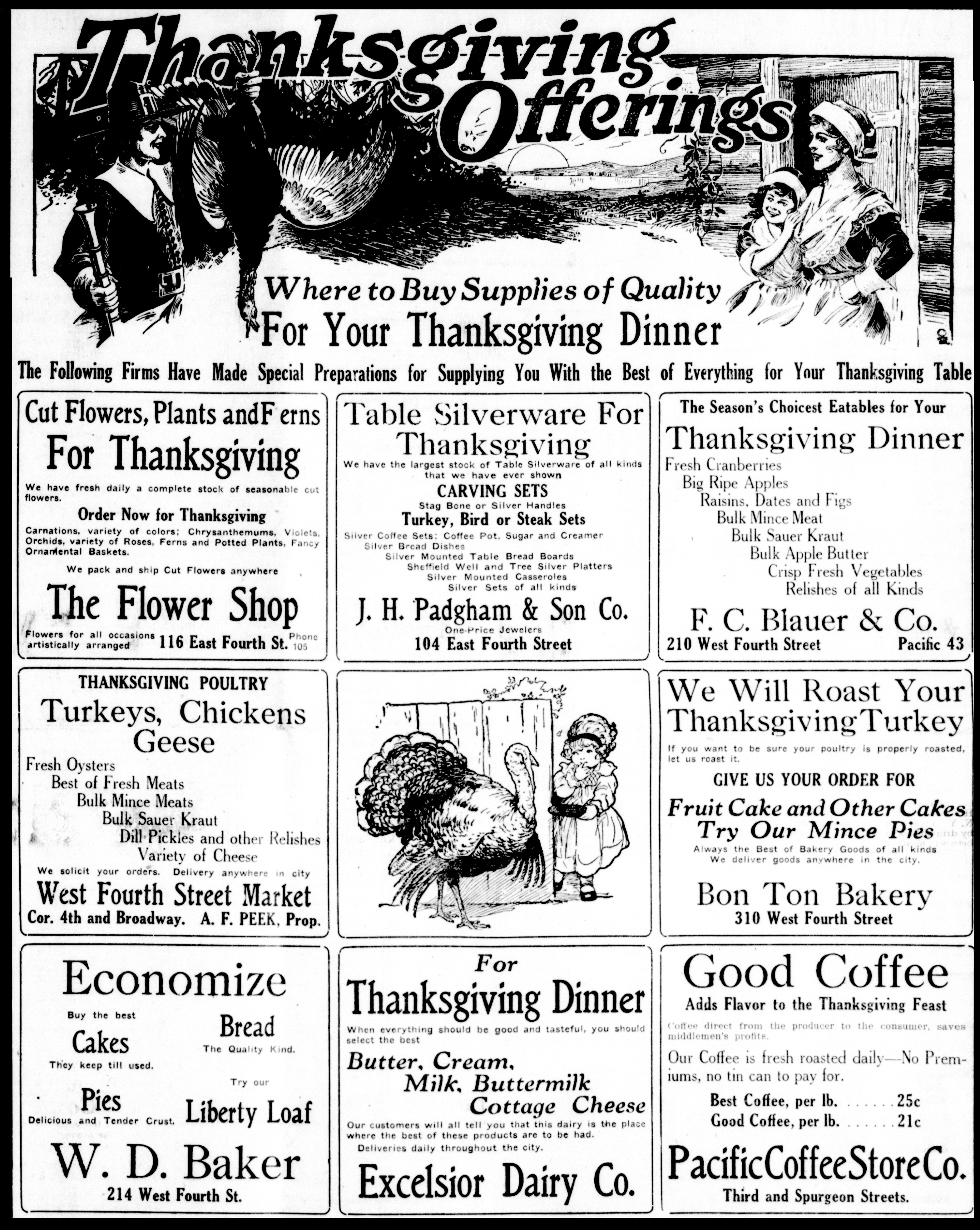 newspaper from 1917 with Thanksgiving pictures