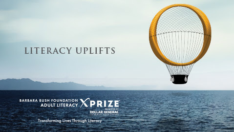 A hot air balloon floating over the ocean plus text that reads literacy uplifts