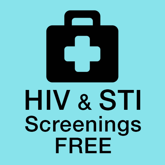 Health icon with words HIV and STI screenings free